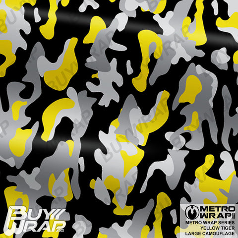 Metro Wrap Series Yellow Tiger Camouflage Vinyl Vehicle Wrap Film