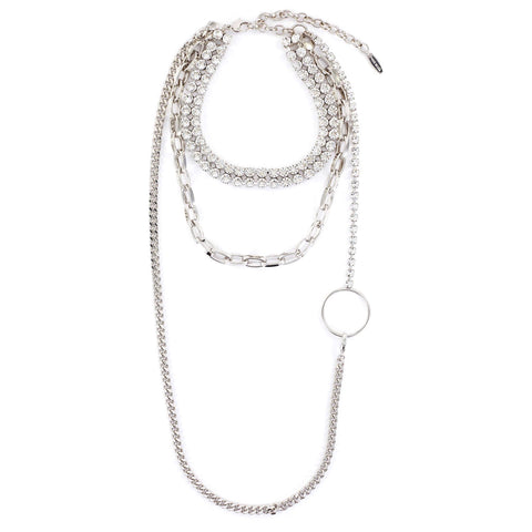 Double Row Crystal Choker W/ Long Chain, Hoop & Detachable Chain - Rhodium/Crystal