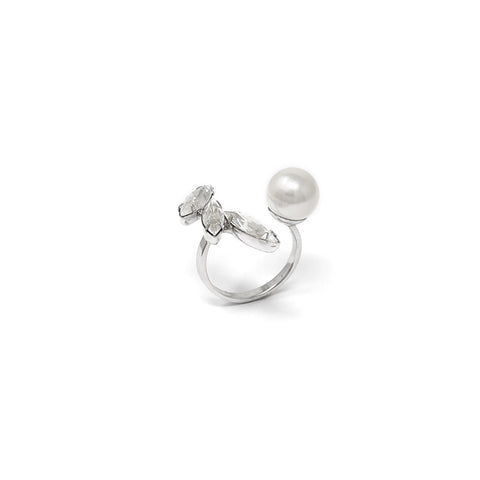 Open Ring W/ Crystals & Pearl - Rhodium/Crystal/White