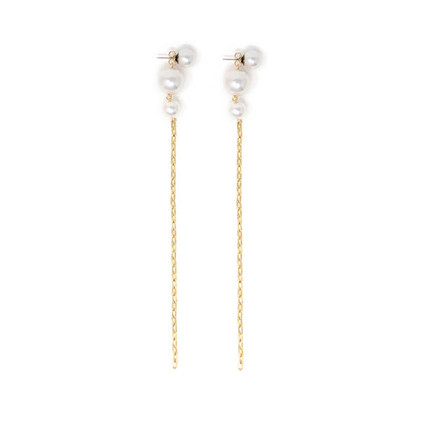 2-Part Pearl Earrings with Chains - Gold/White