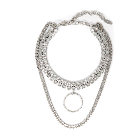 Double Row Crystal Choker W/ Hoop & Detachable Chain - Rhodium/Crystal