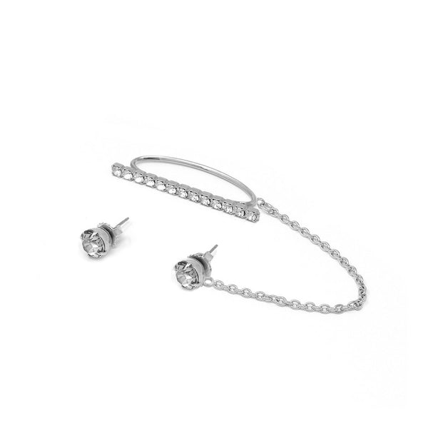 Crystal Stud Earrings & Crystal Ear Cuff W/ Connecting Chain - Rhodium/Crystal