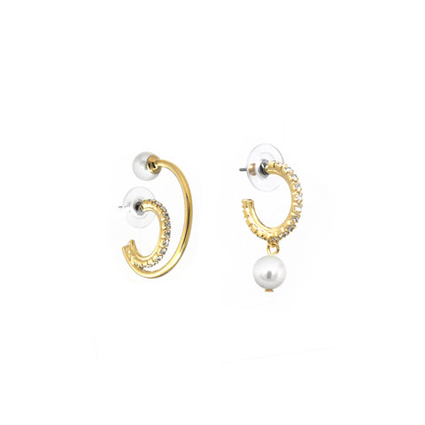 Asymmetrical Double Floating Hoop Earrings W/ Pearls - Gold/Crystal/White