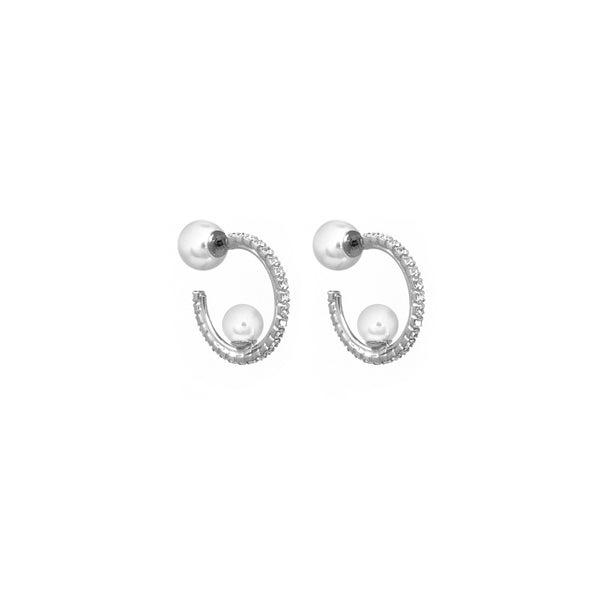 Mini Crystal Hoop Earrings W/ Affixed Pearls & Pearl Backs - Rhodium/Crystal/White