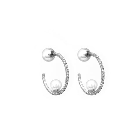 Small Crystal Hoop Earrings W/ Affixed Pearls & Pearl Backs - Rhodium/Crystal/White