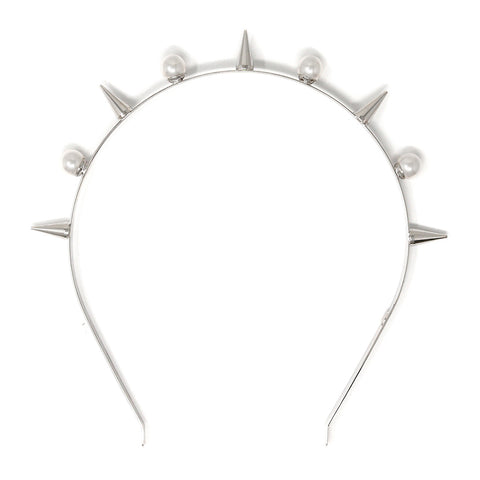 Spike & Pearl Headband - Rhodium/White