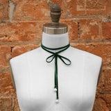 Wrap-Around Double-Sided Velvet Choker with Pearl Ends - Hunter Green/White