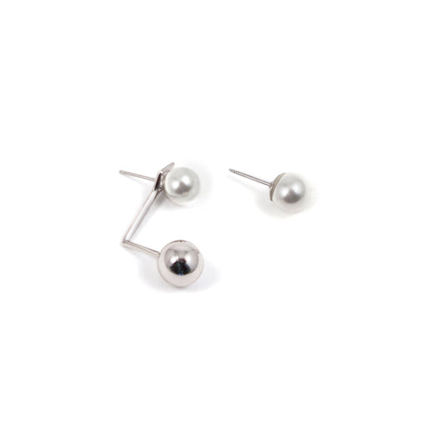 Pearl Studs & Floating Sphere Earring-  White/Rhodium