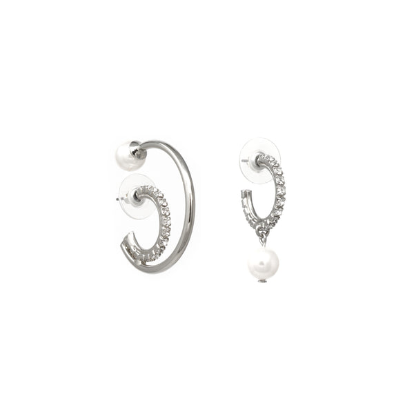 Asymmetrical Double Floating Hoop Earrings W/ Pearls - Rhodium/Crystal/White