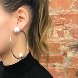 Large Hoop Earrings W/ Affixed Pearls & Pearls Back - Rhodium/White