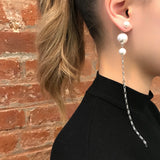 2-Part Pearl Earrings with Chains - Rhodium/White