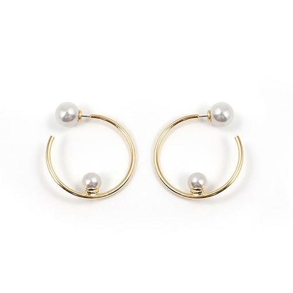 Small Hoop Earrings with Affixed Pearls & Pearl Backs - Gold / White