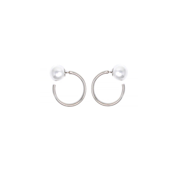 Mini Hoop Earrings W/ Pearl Backs - Rhodium/White