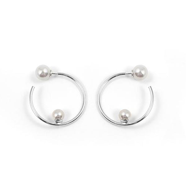 Small Hoop Earrings with Affixed Pearls & Pearl Backs - Rhodium / White