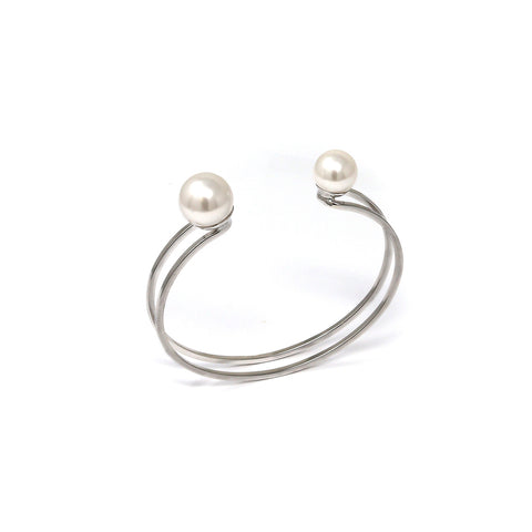 Small Double Cuff W/ 2 Pearls - Rhodium/White