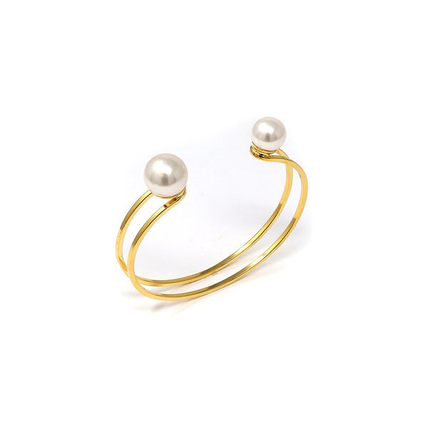 Small Double Cuff W/ 2 Pearls - Gold/White