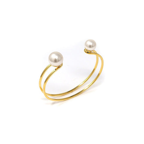 Small Double Cuff w/ 2 Pearls