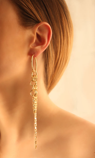 Small Hoop Earrings With Multi Linked Chains - Gold
