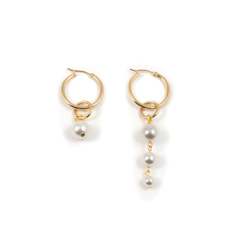 Mini Hoop Earrings With Pearl Drops - Gold / White