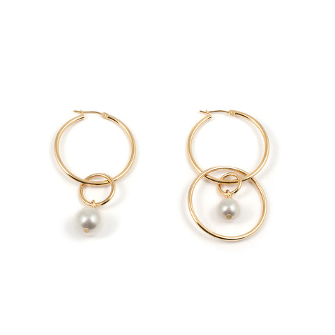 Medium Hoop Earrings With Pearl Drops - Gold/White