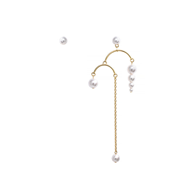 Chandelier Earrings W/ Pearls & Long Chains - Gold/White