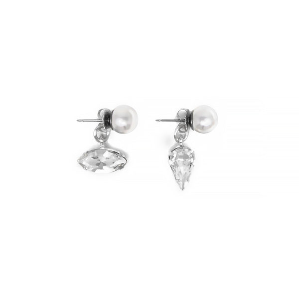 Pearl Stud Earrings with Crystal Ear Decos - Crystal/White