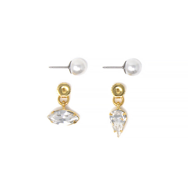 Pearl Stud Earrings With Crystal Ear Decos - Gold/Crystal/White