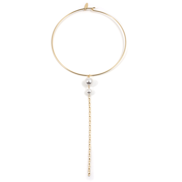 Choker with Pearls & Long Chain - Gold/White