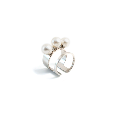 Double Band Ring with 3 Pearls - Rhodium/White