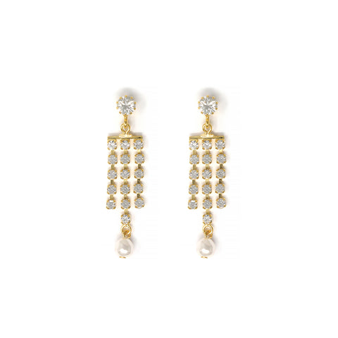 3 Row Crystal Fringe Earrings w/ Pearl Drops - Gold/Crystal/White