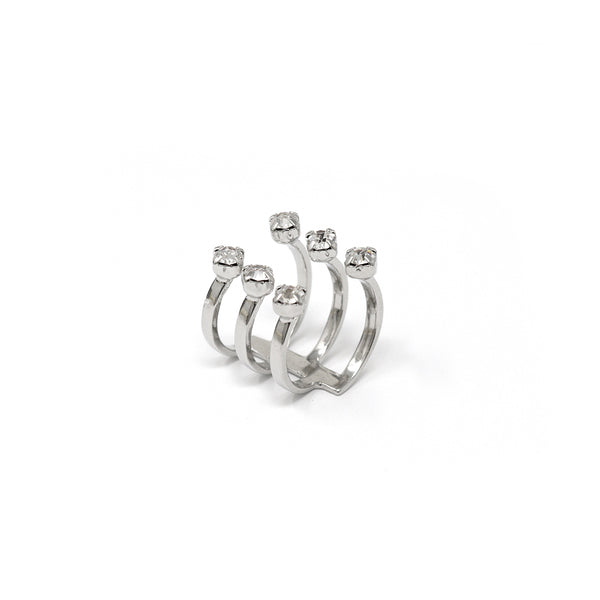 Open Ring W/ 6 Crystals - Rhodium/Crystal