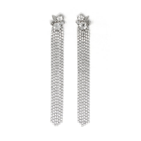 Crystal Fringe Earrings W/ Spikes - Rhodium/Crystal