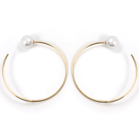 Large Hoop Earrings W/ Pearl Backs - Gold/White