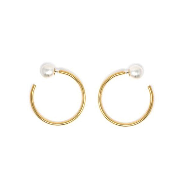 Small Hoop Earrings W/ Pearl Backs - Gold/White