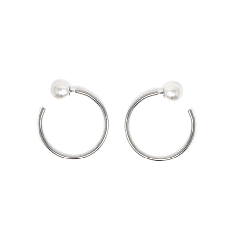 Small Hoop Earrings W/ Pearl Backs - Rhodium/White