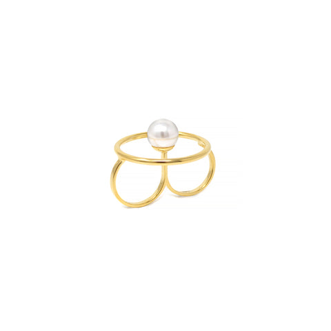 Double Finger Hoop Ring W/ Pearl Center - Gold/White