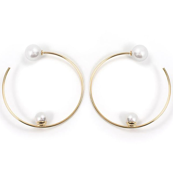 Large Hoop Earrings with Affixed Pearls & Pearl Backs - Gold / White