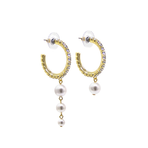 Asymmetrical Mini Crystal Hoop Earrings W/ Pearls - Gold/Crystal/White