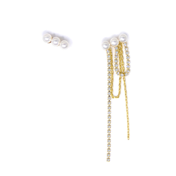Asymmetrical 3 Pearl Earrings W/ Crystal & Chain Fringe - Gold/Crystal/White