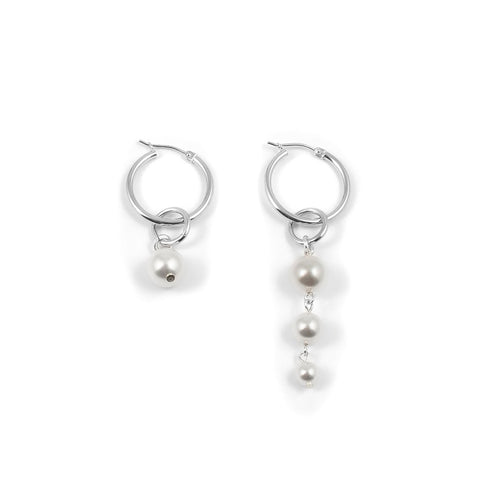 Mini Hoop Earrings With Pearl Drops - Rhodium / White