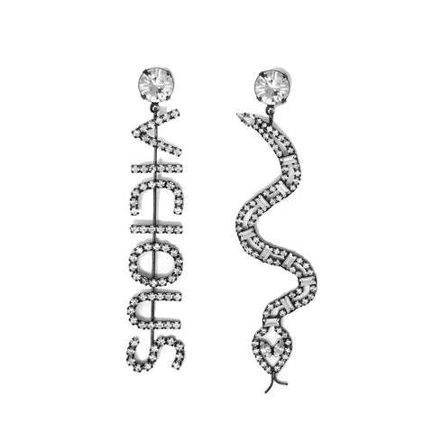 """VICIOUS COBRA"" CRYSTAL EARRINGS - Hematite/Crystal"