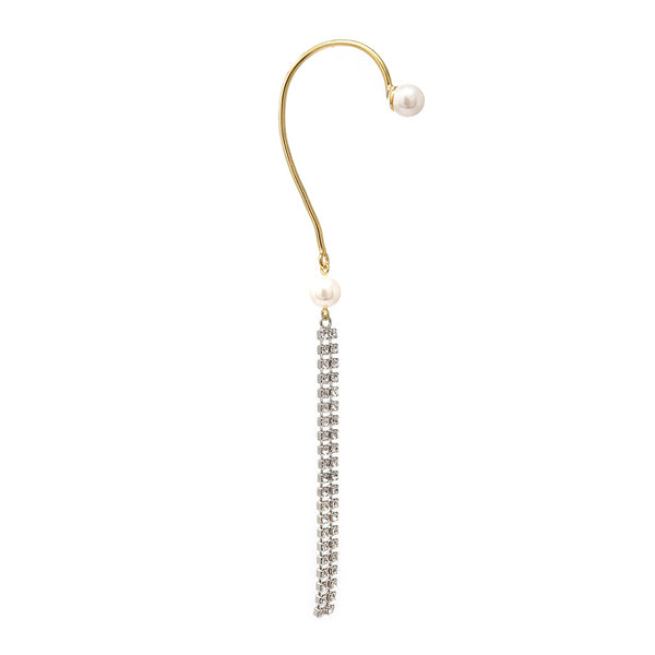 Pearl & Crystal Fringe Ear Cuff - Gold/Rhodium/Crystal/White