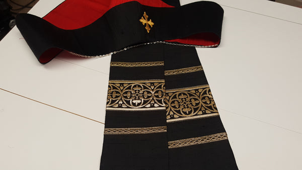 Saint Alban Black Silk Pastor or Priest Stole (QS)