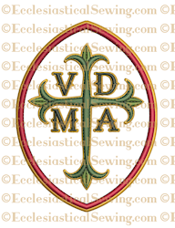 Oval VDMA Latin Cross--Religious Machine Embroidery File