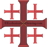 Jerusalem Cross 1 for Pastor Priest Vestments Machine Embroidery