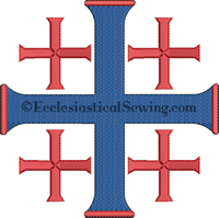 Blue and Red Jerusalem Cross Machine embroidery Design | Pastor Priest Altar Hanging machine embroidery designs Ecclesiastical Sewing