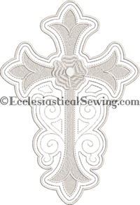 Stainglass Cross with Flower Machine Embroidery for Altar Hangings
