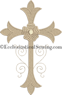 Latin Scroll Cross Altar Linens Machine Embroidery Design | Church Linen Machine Emboidery Designs Ecclesiastical Sewing