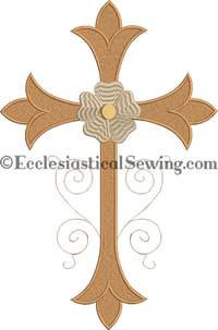 FFleur Cross with Floral Accent Pastor Priest Vestments Altar Hangings Machine Emboidery Design | Religious Machine Embroidery Designs Ecclesiastical Sewing