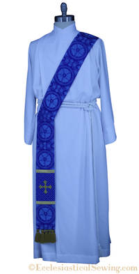 Advent Blue Deacon Stole Priest and Pastor Clergy Stole Ecclesiastical Sewing Luther Rose Brocade